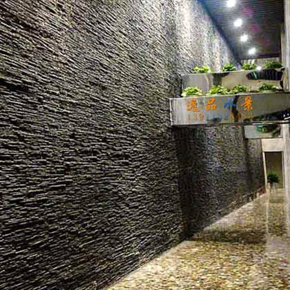 北京雅轩石材水幕墙(长35米天然石