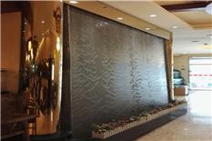 室内餐厅灰色大理石水幕