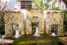 别墅花园养鱼池流水墙