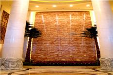 大堂天然大理石水幕墙椰子树